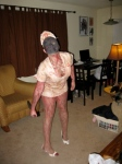 Posing as a Silent Hill nurse in the living room