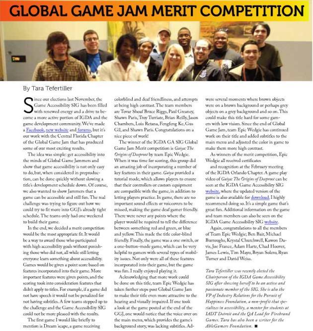 Tara's IGDA article.
