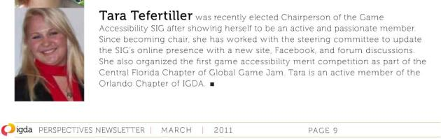 Tara's member spot light in the IDGA newsletter