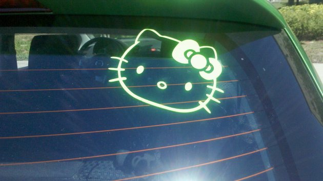 Bright Green Hello Kitty Decal