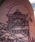 Spirited Away Bath House Tattoo Close up