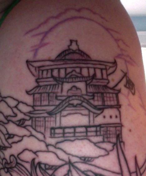 Spirited Away Bath House Tattoo Close up
