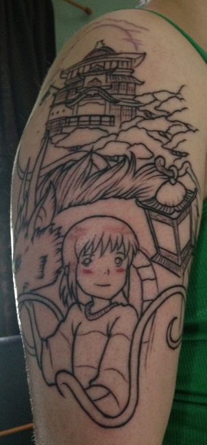 Spirited Away by Miyazaki Half Sleeve Tattoo